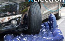 XElectron Car Inflatable Bed With Electric Pump, Pillow & Puncture Kit (Dark Blue)